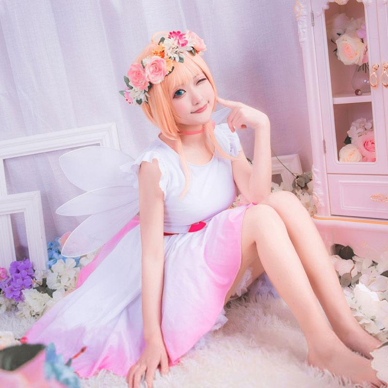 カードキャプターさくら 花語妖精 精霊 木之本桜 小桜 風 髪飾り付きワンピースコスプレ衣装