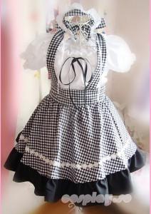 アニメメイド服 コスチューム衣装 黒白格子 コスプレ衣装