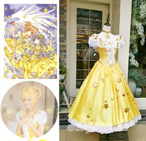 カードキャプターさくら 木之本桜 きのもとさくら 桜(さくら) 60周年 黄金星ドレス コスプレ衣装 コスチューム