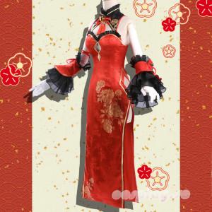 【予約商品】デート・ア・ライブ 時崎 狂三 チャイナドレス 赤色 セクシー風 コスプレ 衣装 コスチューム