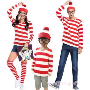 Where's Wally ウォーリーをさがせ コスチューム ウォーリーを探せ グッズ クリスマス ハロウィン コスプレ 衣装 親子服