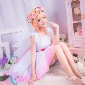カードキャプターさくら 花語妖精 精霊 木之本桜 小桜 風 髪飾り付き ワンピース コスプレ衣装