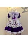 メイド服 紫色 荷葉フリル スカート コスプレ衣装 Lolita アリス イン ワンダーランド