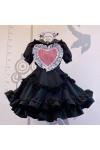 メイド服 セット 喫茶店 ブラック ハート飾り 荷葉裾 可愛い レース