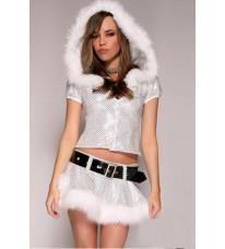 銀色スパンコール フード付きサンタクロース衣装 クリスマス コスチューム