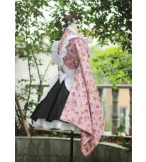 改良振袖 メイド服 和風図案 純綿製 メイドcos衣装 コスプレ和風メイド