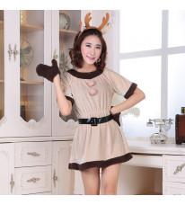クリスマス新品 小鹿ドレス 短袖 レディース イベント パーティーコスプレ衣装 3点セット