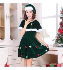 クリスマス新品 クリスマスツリー コスチューム 短袖 レディース イベント パーティーコスプレ衣装 2点セット