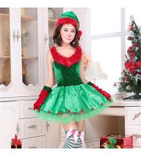 クリスマス新品 クリスマスツリー コスチューム ノースリーブ レディース イベント パーティーコスプレ衣装 3点セット