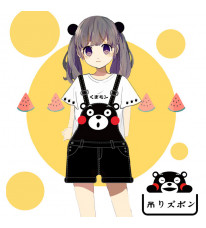 既製品!くまモン kumamon 吊りズボン+Tシャツ セット コスプレ衣装
