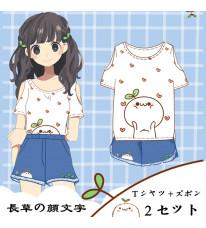既製品!長草の顔文字 Tシャツ 短袖タイプ+ズボン 2セット 人気夏物 可愛いコスプレ衣装