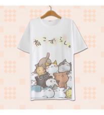 ねこあつめ 萌え萌え風  ネコ 猫Tシャツ