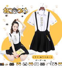 ねこあつめ 吊りスカート+猫Tシャツ 2セット 夏物 人気コスプレ衣装