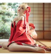 Fate/EXTELLA 着物 赤セイバー 開けた胸元 赤薔薇 和風 コスプレ衣装