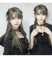 空気感灵动前髪 yurisa 自然女子ウィッグ グレー コスプレ用 セール ロリータウィッグ