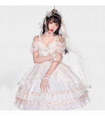 JSK ロリィタワンピース 白色 全セット 豪華 蝶結び ドレス