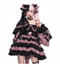 perro cat クラロリ ワンピース ブラック+ピンク ジャンパースカート