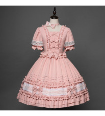 ロリィタ ワンピース ピンク 田舎風 甘ロリ ドレス