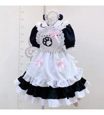ハロウィン 黒白メイド服 猫の手柄 白色フリル