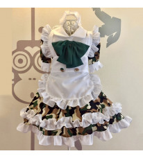 ハロウィンメイド服  迷彩風 白色フリル