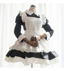 クラシック黒白 メイド服 ミニ丈 フリルエプロン