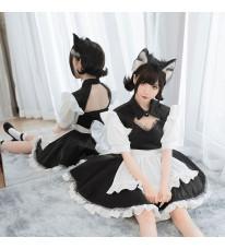 メイド服衣装セット 黒白 胸開メイド服 セクシー ミニ丈メイド服