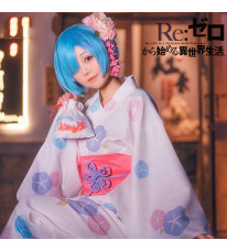 Re:ゼロから始める異世界生活 レム 着物 青色 和風 浴衣 コスプレ衣装
