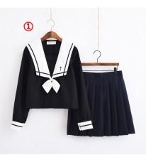 制服 jk コスプレ衣装 清楚 セーラー服 3本線の襟 紺色 白襟 お嬢様