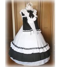 高品質コスプレ衣装 ロングメイド服 ウェディングパニエ メイドドレス