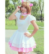 カードキャプターさくら 木之本桜(きのもと さくら) ピンクと白 コスプレ衣装