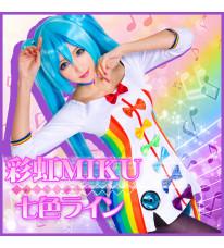 VOCALOID Miku ボーカロイド  初音ミク ナナイロライン Project DIVA-F 2nd  レインボー コスプレ衣装