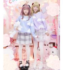 高品質 グレー+ピンク朦朧チェック模様 リボン付け冬厚いラシャスカート