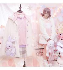 暖かい 白熊 イミテーションレザーとファー 厚い熊ポケッ ト綿毛帽子コート 高品質