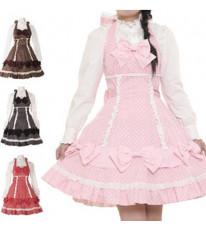 ラップリボンホルターネックジャンパースカート  ゴスロリ ロリータ パンク コスプレ コスチューム メイド衣装