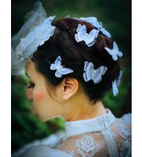 レトロ髪飾り レース蝶々ヘアピン 手作りの刺繍 ロリータ髪飾り