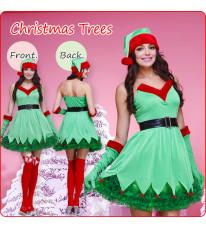 新作 クリスマス衣装 グリーン精霊 バーティー コスプレ衣装 コスチューム