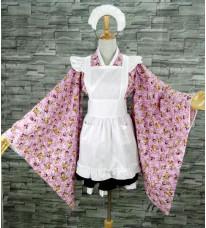 純綿製 メイドcos衣装 改良振袖 メイド服  和風 ロリータ 和 ロリ コスプレ