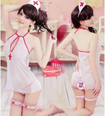 セクシーランジェリー ナース服 スケスケ 情趣の下着セット 制服の誘惑 女性ゆったり 透明な下着