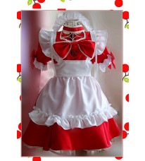 メイド服 ゴスロリ 誘惑に大きな赤い桃の心  コスプレ衣装    制服 コスチューム