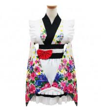コスプレ衣装 和風メイド衣装 可愛い4点セット