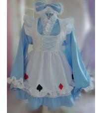 着物タイプのアリス風メイド服☆鮮やかな水色とエプロンのマークがキュート衣装